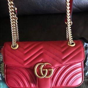 women red leather chain handbag